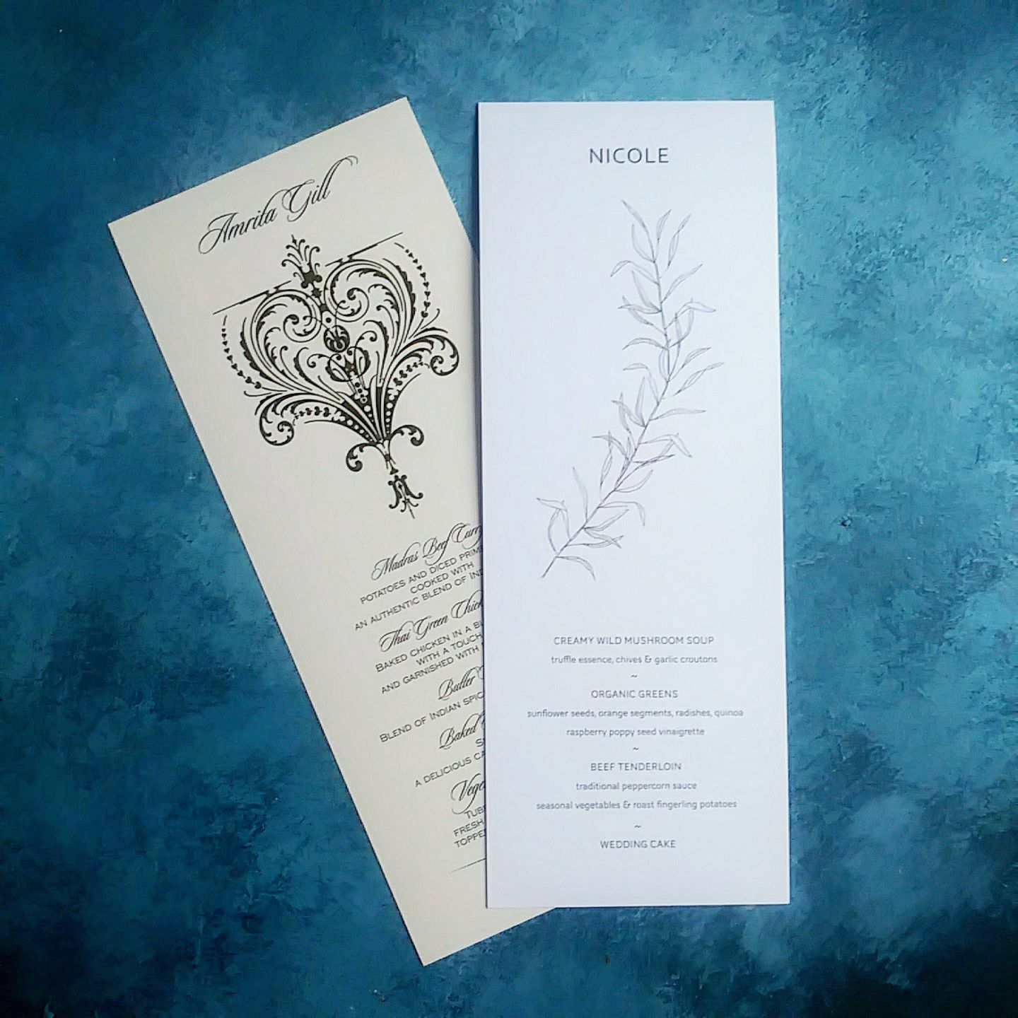 Place card and menu in one