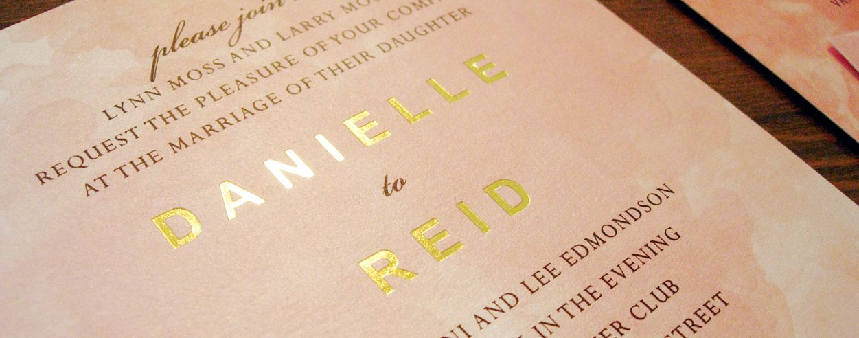 Gold Foil and Watercolour invitation – Danielle and Reid